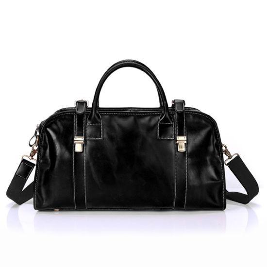 OEM Design Good Quality Black Leather Travel Bag Weekender Bag Leather Duffle Bag for Men