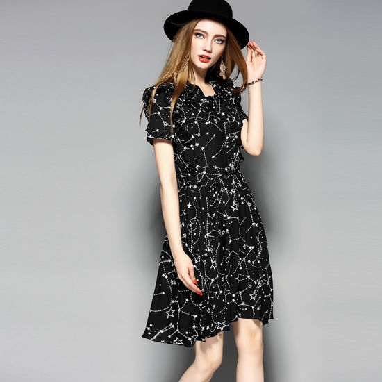 Women′s Elegant Floral Dress with Two Layers Jiont Shoulder pictures & photos