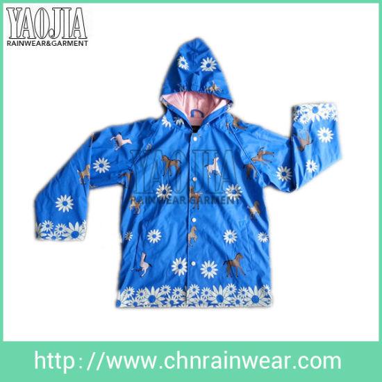 China PU Coated Children & Kids Waterproof Fashion Rain