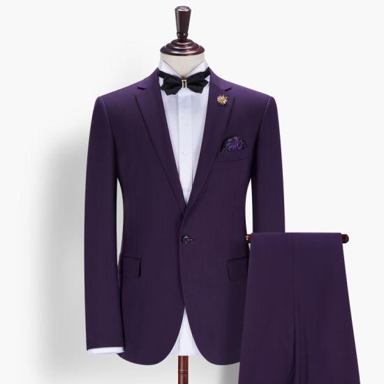 New Arrival Fashion Business Wedding Slim Fit Man Purple Suit