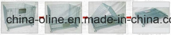Stackable Folded Warehouse Wire Mesh Cage Match with Forklifts pictures & photos