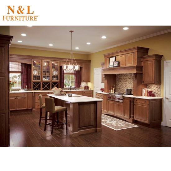 N&L Real Cherry Oak Solid Wood Kitchen Cabinet pictures & photos