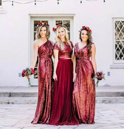 6334badbe505 Wine Sequins Bridesmaid Formal Gowns Chiffon Tulle Prom Dress PC2015  pictures & photos