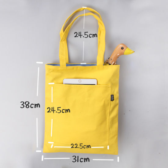 China Promotional Cotton Handbag Canvas Zipper Tote Bag With Outside
