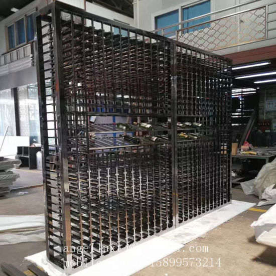 Foshan Factory 304 Stainless Steel Wine Display Rack with Black Mirror Finish pictures & photos