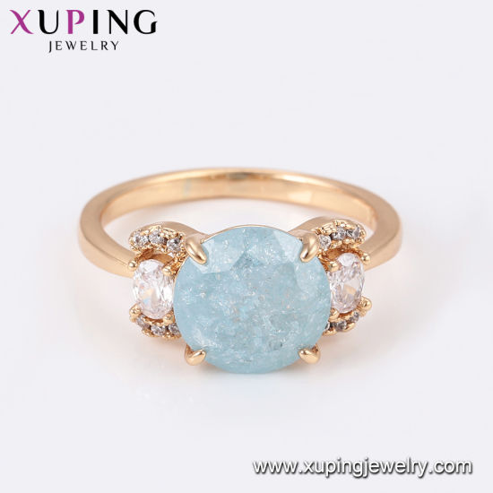15382 Popular 18K Gold-Plated Flower Colorful Zircon Jewelry Finger Ring in Copper Alloy pictures & photos