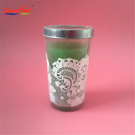 Tall Green Wax White Deca Lace Effectcandle with Metal Lid pictures & photos