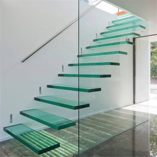 China Interior Modern Floating Staircase Tempered Glass Stair With