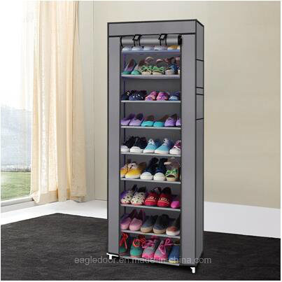 9 Tier Shoe Shelves Canvas Fabric Shoe Rack Storage Cabinet Rail Shoes  Organizer Zipper Standing Sapateira Organizador Furniture (FS 01E)