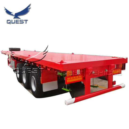 China Quest Factory 3 Axle 40ft Flatbed Semi Trailer Truck Trailer Tractor Trailer China Flatbed Semi Trailer Flatbed Trailer