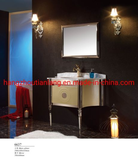 Gold Marble Countertop Mirrored Modern Stainless Steel Bathroom Set