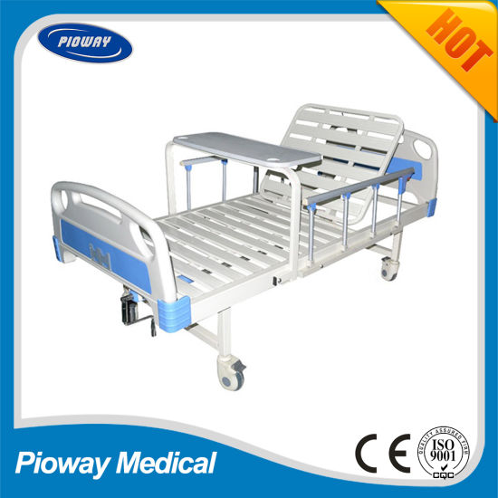 Hospital One Crank Bed with Guardrail, Castor, Dinner Table (PW-C02)