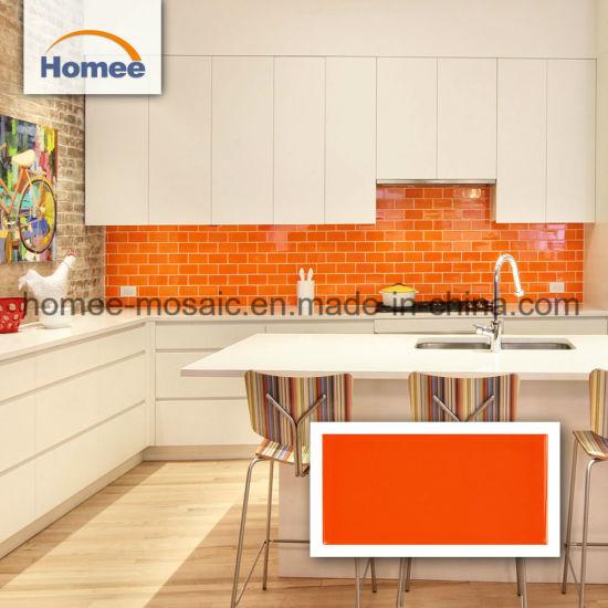 Orange Brick Pattern Mosaic Tile Kitchen Backsplash Subway ...