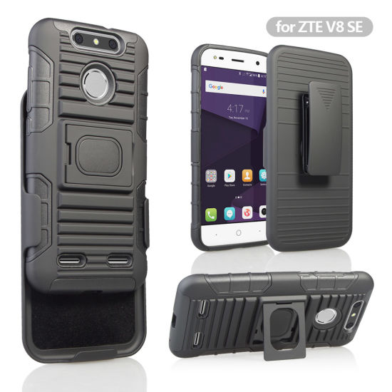 Wholesale 2 in 1 TPU PC Ring Armor Holster Combo Case for Zte V8 Se