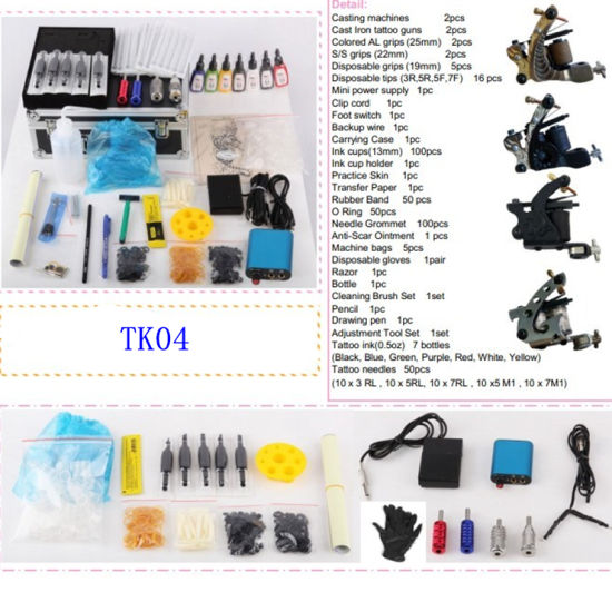 China Professional Complete Tattoo Kit Machine Gun 7color Ink