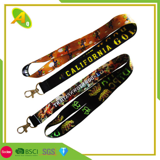 Custom Logo Woven Lanyard Sublimation Heated Transfer Neck Nylon Woven Polyester Printing Lanyard for Promotional Gift (001)