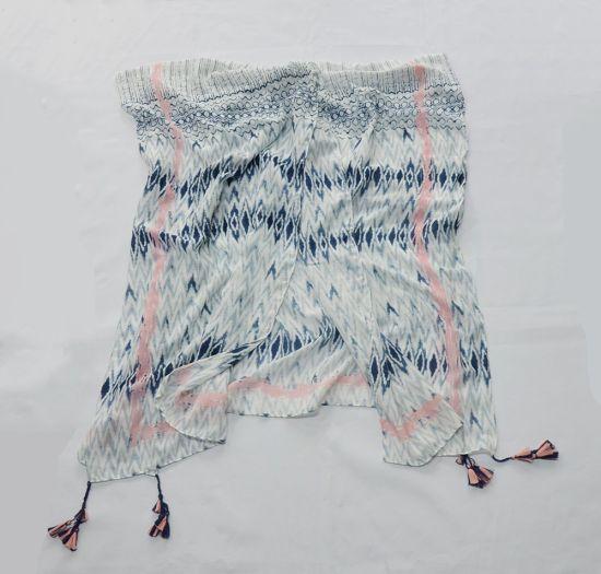 Custom Print Striped Shawl Women Scarf (HY042485)