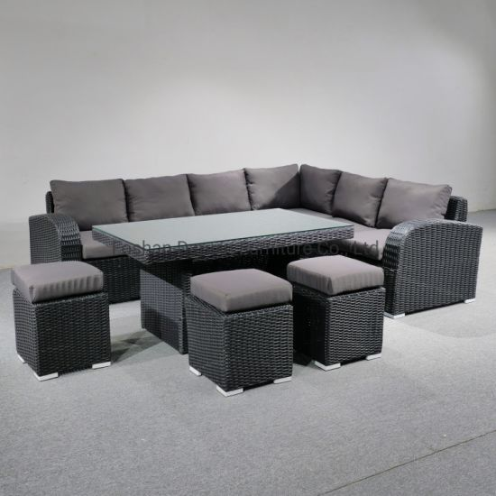 Leisure Outdoor Patio Garden Rattan, Outdoor Sectional Couch With Dining Table