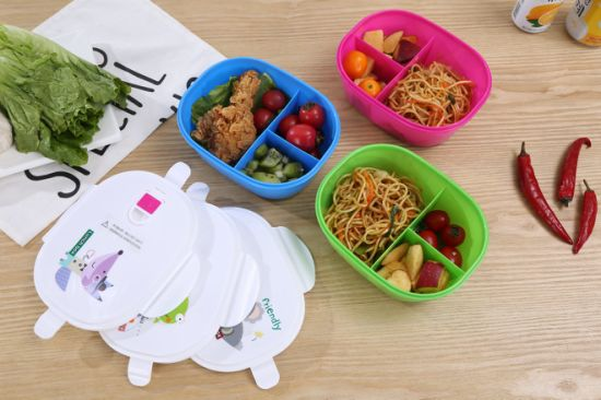 Kid's Plastic Lunch Box Food Container with Three Compartments and Spoon
