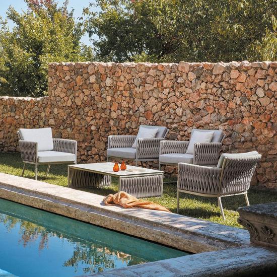 Modern Commercial Handmade Outdoor Furniture Basket Rope Woven Sofa Set
