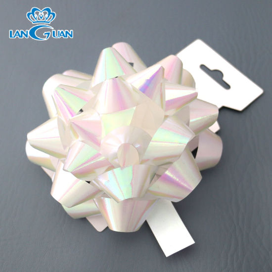 White Metallic Laser Colorful Wedding Bow for Car Decoration