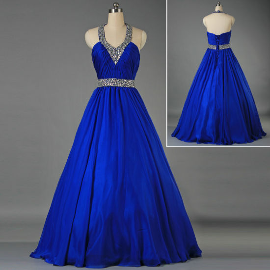 Sexy Halter Crystal Beaded Ball Gown Royal Blue Prom Evening Dresss Wedding Party Wholesale