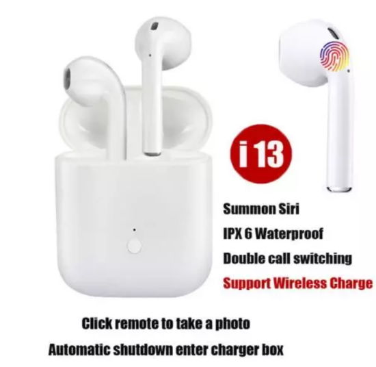 I13 Tws 1: 1 Wireless Touch Control Headphone Blue Tooth V. 5.0 Earbuds 3D Super Bass Sport Headset Support Wireless Charge