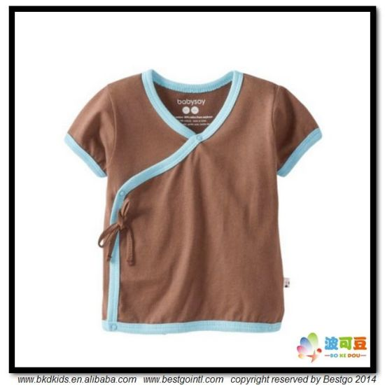 Plain Dyed Baby Garment Kimoni Style Toddler T-Shirt