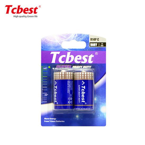 Tcbest Super Heavy Duty OEM Accept High Capacity 1.5V Super Heavy Duty R14 C Um2 Size Battery Non-Rechargeable Battery