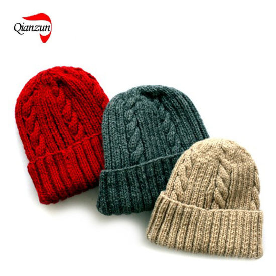 China Warm Knitted Beanie Hat Pattern China Knitted Hat Cable