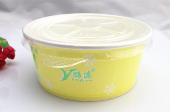 Yellow Disposable Customized Printed Food Paper Container for Escarole Salad