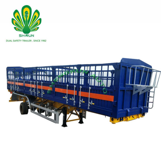 2/3 Axle Utility Cargo Box Animal Pig Cow Transport Semi Trailer with Removable Side Wall/Fence