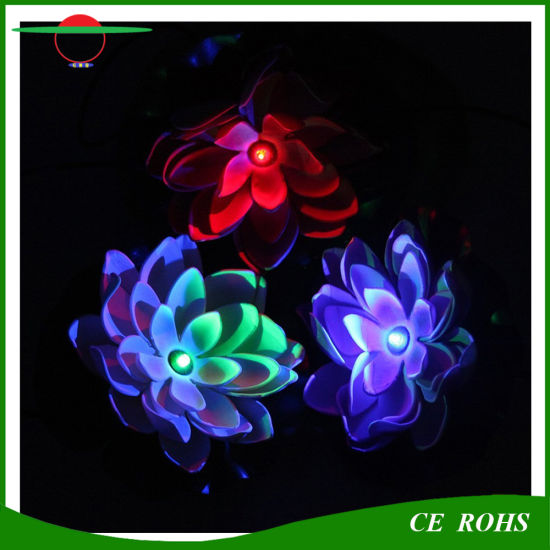 Solar Power Waterproof Pool Floating Lotus Solar Light Night Flower Lamp for Garden Ponds Decoration pictures & photos