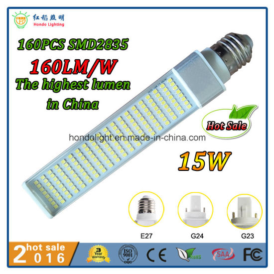160lm/W G24 PLC LED bulb 20W with 272PCS Epistar SMD2835 pictures & photos