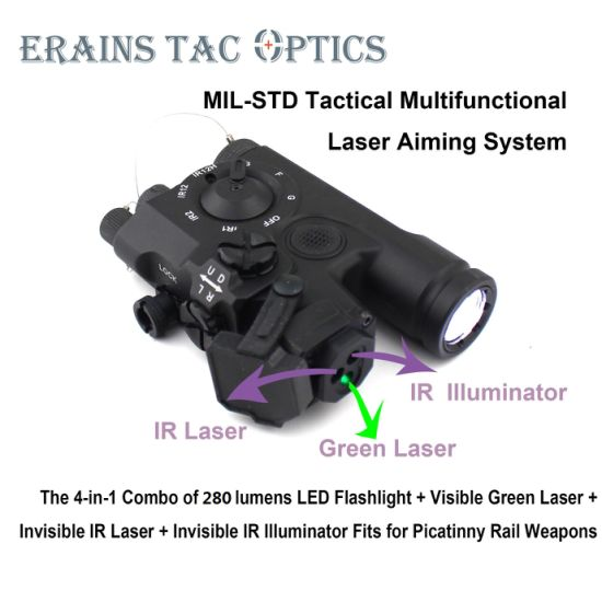 Un Pke Adopted Mil-Std 4 in 1 Laser Aiming Combo of Ipx8 Weapon Tactical Rifle 280 Lumens LED Flashlight IR Laser Illuminator Green Laser Collimator Sight