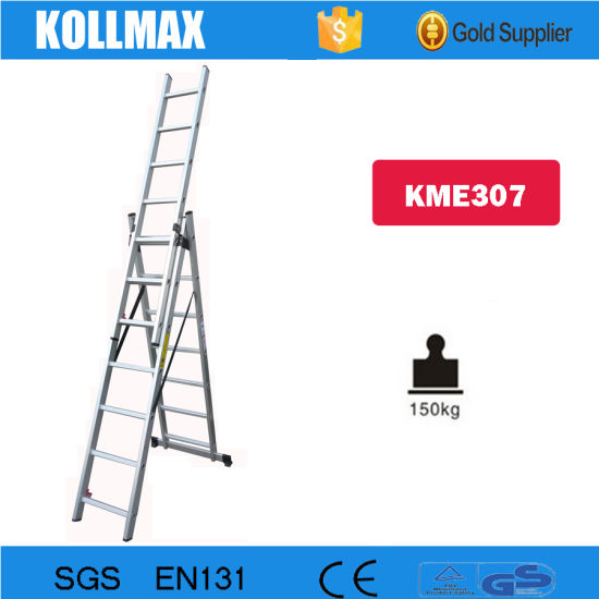 3 Section Aluminum Extension Ladder with En131 Kme314 pictures & photos