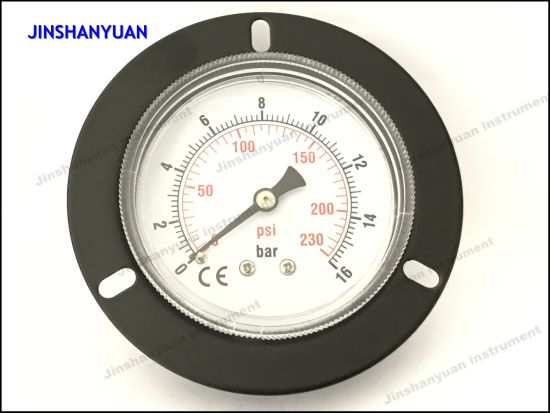 Gpg-013 Black Steel Low Manometer Capsule Connection Ordinary Kpa Gas Pressure Gauge with Front Flange /Back Mount Air Manometer