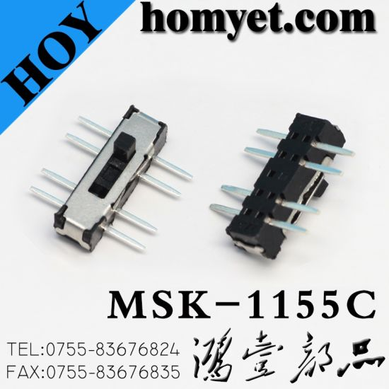SMT Type Vertical 3 Position 2t3p Slide Switch (HY-1155S) pictures & photos