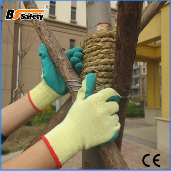 Yellow Green Crinkle Latex Coated Working Gloves Saferty Gloves for Workers