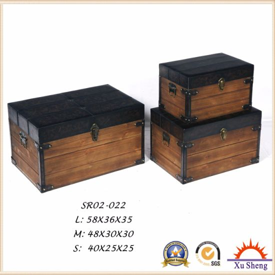 Antique Furniture Decorative Rustic Brown Natural Wood Gift Box pictures & photos