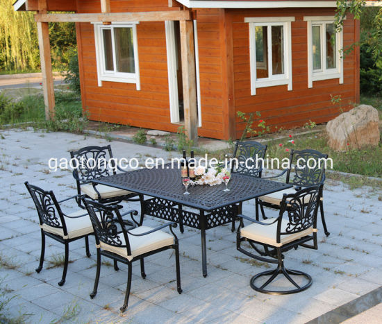 Die Cast Aluminum Garden Furniture Outdoor Dining Table with Chairs