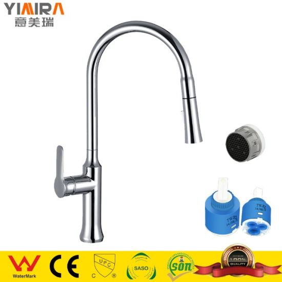 Brass Chrome Plated Pull out Waterfall Sink Kitchen Faucet Mixer