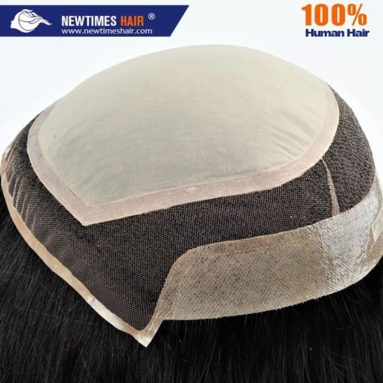 Custom Ladies PU and Lace Base Real Human Hair Silk Top Wig pictures & photos