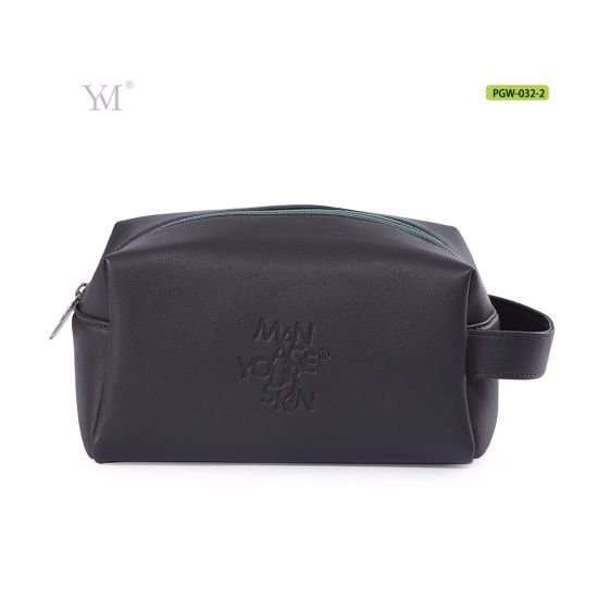 2224577433 Luxury Large Capacity Black Soft Leather Mens Toiletry Bags with Handle