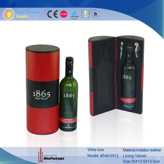 China New Design Cylinder Pu Leather Wine Packaging Gift Box With