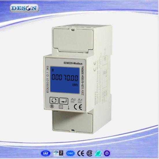 Single Phase RS485 Modbus DIN Rail Watt-Hour Power Meter Sm220-Modbus