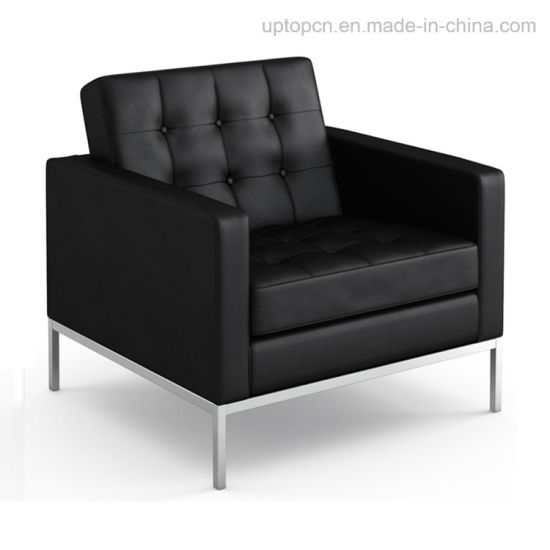 Vintage Metal Steelsingle Commercial Black Leather Sofa Sp Cs105