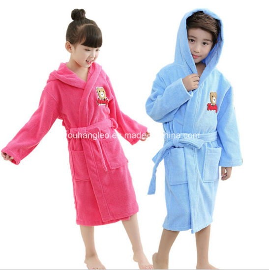 100% Cotton Terry Hooded Kids Robe Children Bathrobe pictures & photos