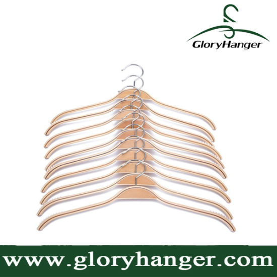 Durable Laminated Wooden Clothes Hangers Natural Finish with Soft Non-Slip Stripes pictures & photos