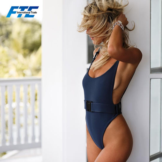 Custom Solid Color Bathing Suit Girls One Piece Swimsuit with Belt Buckle